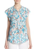 Rebecca Taylor Floral-Print Ruffled Silk Top