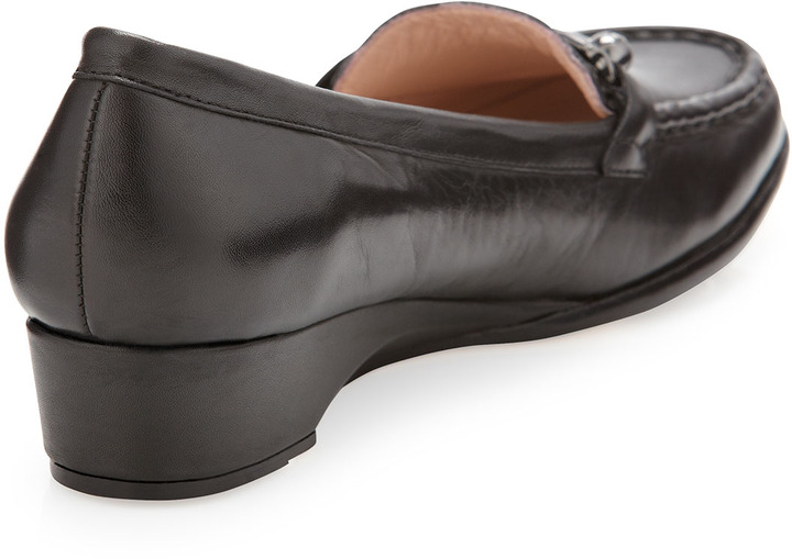 Taryn Rose Charsey Low-Wedge Bit Loafer, Black