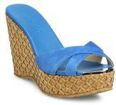 Jimmy Choo Perfume 120 Suede Cork Wedge Sandals