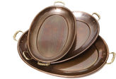 Old Dutch Hammered Dcor Antique Copper Oval Trays 3 Piece Set