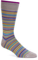 Bugatchi Mercerized Multi Stripe Mid-Calf Socks