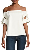 Alexis Weston Off-the-Shoulder Poplin Top, White