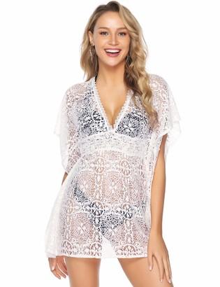 Abollria Women's Beach Cover Up Summer Lace V Neck Loose Swimsuit Beachwear Dress White
