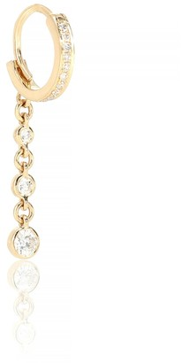 Jacquie Aiche 3 Dia Drop Mini Hoop 14kt yellow gold and diamond single earring
