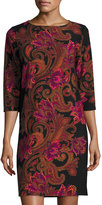 Neiman Marcus Paisley-Print 3/4-Sleeve Knit Dress, Black/Fuchsia