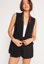 Missguided Sleeveless Double Breasted Tie Belt Jacket Black