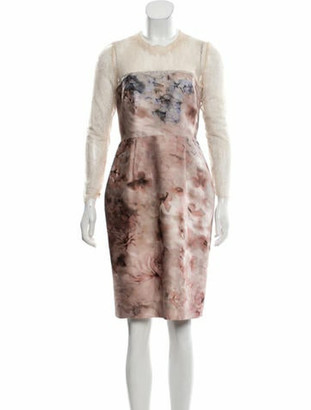 Valentino Printed Knee-Length Dress Mauve