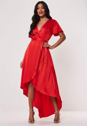 Missguided Petite Red Satin Wrap Ruffle Asymmetric Midi Dress