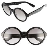 Kate Spade Women's 'Khriss' 52Mm Round Sunglasses - Black/ Silver Glitter