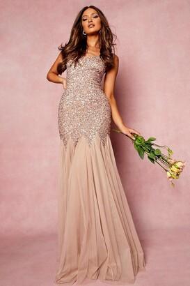 boohoo Bridesmaid Hand Embellished Godet Mesh Maxi Dress
