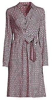 Elie Tahari Women's Saxon Geometric-Print Tie-Waist Shirtdress