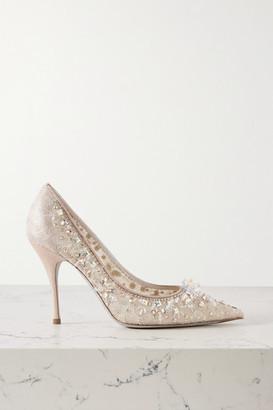 Rene Caovilla Cinderella Embellished Lace And Satin Pumps - Beige