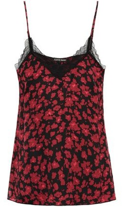 LOVE Stories Camelia Lace-trimmed Floral-print Charmeuse Camisole