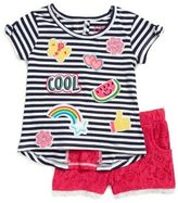 Flapdoodles Little Girl's Emoji Tee and Lace Shorts Set