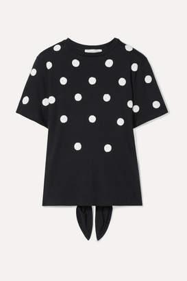 Oscar de la Renta Sequin-embellished Modal And Cotton-blend T-shirt - Black