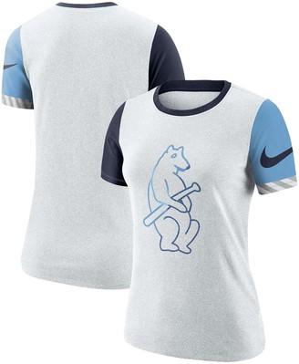 Nike Women's Heathered White Chicago Cubs Slub Two-Tone Logo Performance Crew Neck T-Shirt