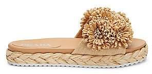 Prada Women's Flower Raffia Flatform Sandals