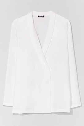 Nasty Gal Womens Work It From Home Plus Double Breasted Blazer - White - 20