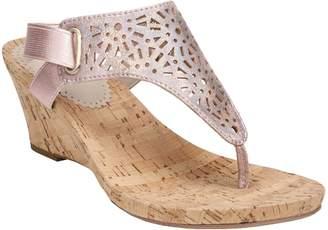 White Mountain Metallic Wedge Thong Sandals - Alise