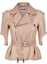 Alexander McQueen Short Sleeve Leather Peplum Jacket