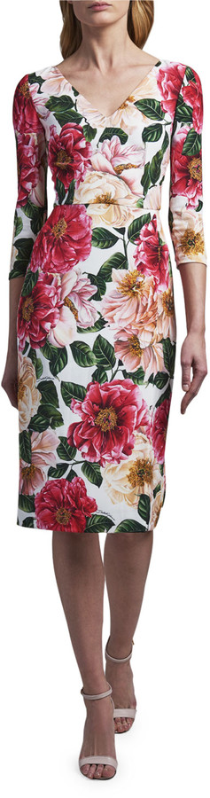 Thumbnail for your product : Dolce & Gabbana V-Neck Floral-Print Dress