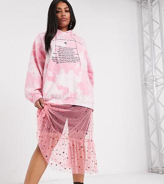 New Girl Order Curve midi skirt in star print mesh with ruffle hem-Pink