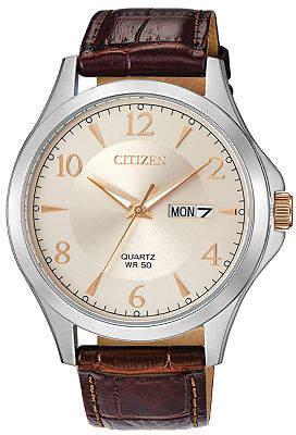 Citizen Quartz Mens Brown Leather Strap Watch-Bf2009-29x Family
