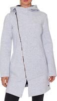 Betsey Johnson Light Gray Fleece Asymmetrical Hooded Jacket