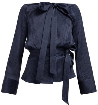 Roland Mouret Pilar Neck-tie Hammered-satin Blouse - Navy