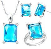 Babao Jewelry Jewelry Sets Babao Jewelry Simple Square Sky Blue 18K Platinum Plated Cubic Zirconia Crystals Pendant Necklace Earrings Set with 925 Sterling Silver Necklace Ring Size 9