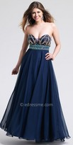 Dave and Johnny Strapless Embellished Bodice Chiffon Prom Dress