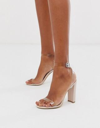 Qupid clear strap heeled sandals-Beige