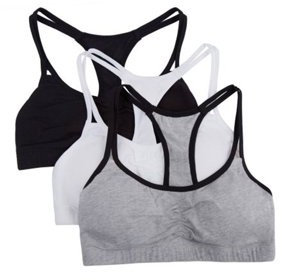 Fruit of the Loom Girls Cotton Stretch Sports Bra, 3 Pack (Little Girl & Big Girl)