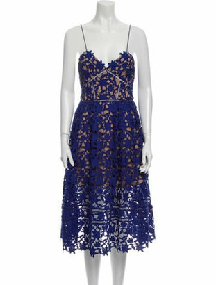 Self-Portrait Lace Pattern Midi Length Dress Blue