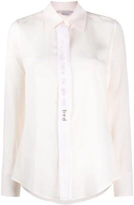 Stella McCartney Embellished-Slogan Crepe-De-Chine Shirt