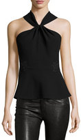 Rebecca Taylor Crepe & Lace Twist-Front Top, Black