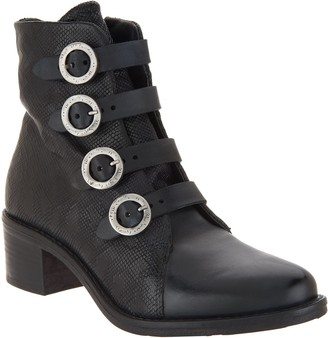 Miz Mooz Leather Buckle Ankle Boots - Fawn