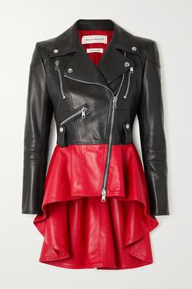 Alexander McQueen Two-tone Leather Peplum Biker Jacket - Black