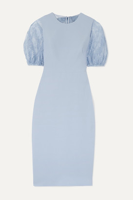 Lela Rose Bow-detailed Cady And Chantilly Lace Dress - Light blue