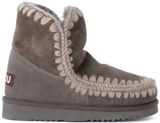 Mou Eskimo 18 Charcoal Gray Ankle Boot In Warm Double-faced Sheepskin