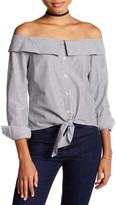 Romeo & Juliet Couture Off-the-Shoulder Spread Collar Front Tie Blouse