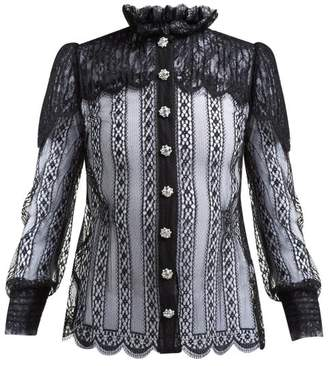 Dolce & Gabbana Crystal Embellished Chantilly Lace Blouse - Womens - Black