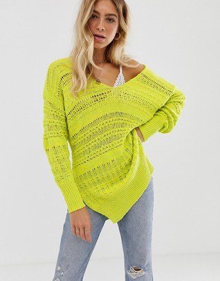 Free People Hot Tropics crochet knit jumper-Yellow
