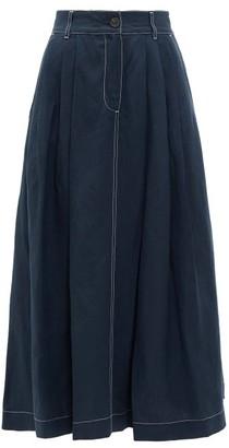 Mara Hoffman Tulay Pleated Midi Skirt - Navy