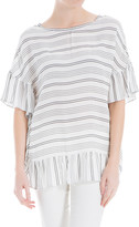 Max Studio Striped Flounce-Trimmed Top