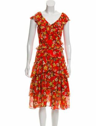 Marissa Webb Floral Print Ruffle-Tiered Dress Orange