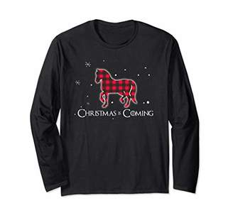 Buffalo David Bitton Red Plaid Horse Christmas Matching Family Pajama Long Sleeve T-Shirt