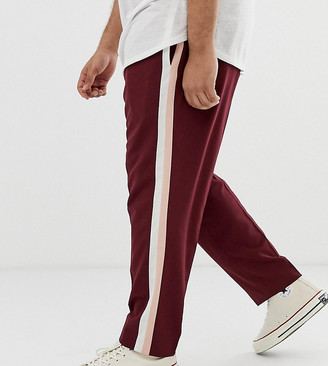 ASOS DESIGN Plus skinny smart pants in burgundy with double side stripe
