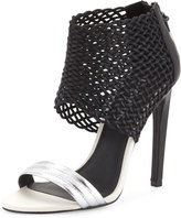 L.A.M.B. Bishop Woven Leather Sandal, Black/Silver
