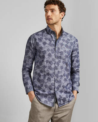 Ted Baker CHARLEZ Long sleeved palm print cotton shirt